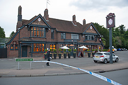 ©Licensed to London News Pictures 02/08/2020     Bromley, UK. Local reports tonight of a fight and a stabbing at or near the Rose and Crown pub in Green Street Green, Bromley, South East London. A large police cordon is in place around the pub and the Air Ambulance is believed to have been in attendance.  Photo credit: Grant Falvey/LNP