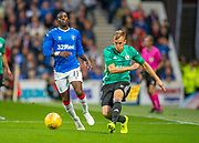 Pawel Stolarski (#41) of Legia Warsaw plays a pass in front of Sheyi Ojo (#11) of Rangers FC during the Europa League Play Off leg 2 of 2 match between Rangers FC and Legia Warsaw at Ibrox Stadium, Glasgow, Scotland on 29 August 2019.