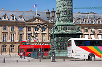 tour bus on Place Vendôme Paris France in May 2008