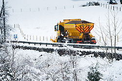 © Licensed to London News Pictures. 11/02/2014. Ponterwyd , UK. Heavy overnight snow forces the closure of the main A44 trunk road at Nant yr Arian near Ponterwyd 13 miles inland from Aberystwyth over the Cambrian mountain in mid wales this morning. Gritter lorries and snowplows struggled to re-open the key transport route. Photo credit : Keith Morris/LNP
