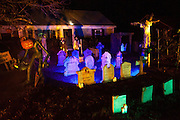 "Chris Baker's haunted yard in South Yarmouth, MA. Every year Baker sets up an elaborate Halloween display in his yard and on Halloween, neighborohood residents walk through his frightening ""vortex"" of horror while trick or treating."