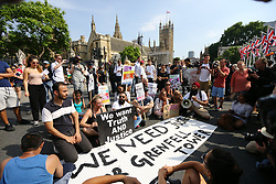 © Licensed to London News Pictures. 21/06/2017. London, UK. a protest is taking place Outside the house of commons that is aiming to bring down the Government. The Demonstration by Movement for Justice By Any Means Necessary is billed as a day of action for the victims of the Grenfell Tower disaster. Photo credit: Andrew McCaren/LNP