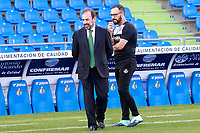 Getafe CF's President Angel Torres with the coach Jose Bordalas during the session of the official photo of the first team squad for the 2017/2018 season. September 19,2017. (ALTERPHOTOS/Acero)