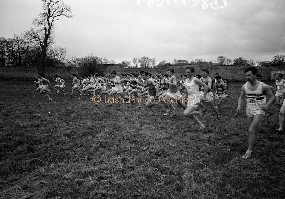 23/03/1966<br /> 03/23/1966<br /> 23 March 1966<br /> All Ireland Colleges Cross Country Championships held at Belfield, Dublin. Image shows the start of the All Ireland Colleges Senior Cross Country Championship race.
