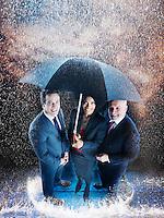 Businesspeople in the Rain