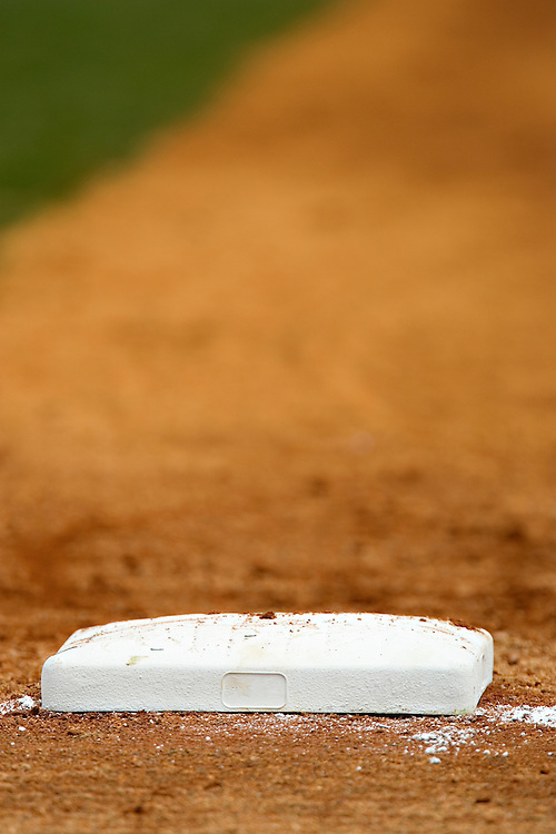 1st base on a baseball field during a game