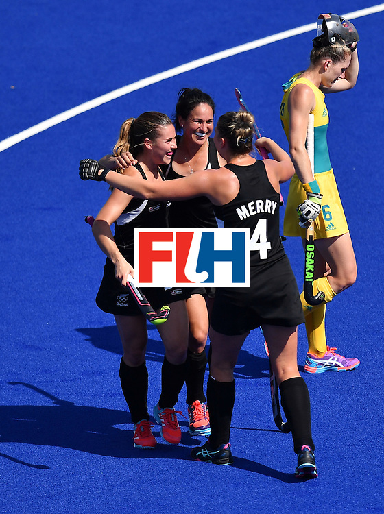 New Zealand's players celebrate their second goal during the the women's quarterfinal field hockey New Zealand vs Australia match of the Rio 2016 Olympics Games at the Olympic Hockey Centre in Rio de Janeiro on August 15, 2016. / AFP / MANAN VATSYAYANA        (Photo credit should read MANAN VATSYAYANA/AFP/Getty Images)