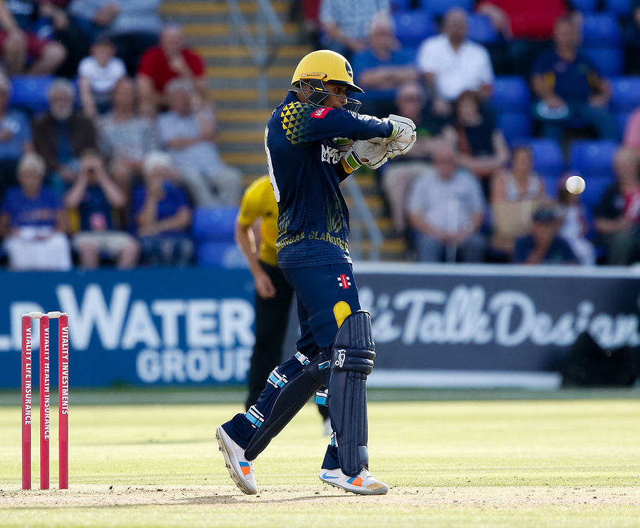 Glamorgan's Usman Khawaja strikes the ball<br /> <br /> Photographer Simon King/Replay Images<br /> <br /> Vitality Blast T20 - Round 8 - Glamorgan v Gloucestershire - Friday 3rd August 2018 - Sophia Gardens - Cardiff<br /> <br /> World Copyright © Replay Images . All rights reserved. info@replayimages.co.uk - http://replayimages.co.uk