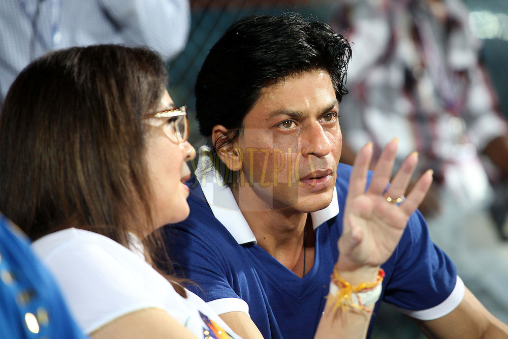 Nita Ambani chats with Shah Rukh Khan during the Final of the NOKIA Champions League T20 ( CLT20 ) between The Royal Challengers Bangalore and The Mumbai Indians held at the M. A. Chidambaram Stadium in Chennai , Tamil Nadu, India on the 9th October 2011..Photo by Ron Gaunt/BCCI/SPORTZPICS