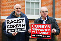 © Licensed to London News Pictures. 26/11/2019. London, UK. Anti-Corbyn protesters outside Bernie Grant Arts Centre in Tottenham, North London. Photo credit: Dinendra Haria/LNP