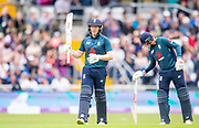 Picture by Allan McKenzie/SWpix.com - 19/05/2019 - Sport - Cricket - 5th Royal London One Day International - England v Pakistan - Emerald Headingley Cricket Ground, Leeds, England - England captain Eoin Morgan celebrates his half century against Pakistan.