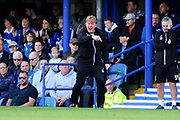 Bradford City manager Stuart McCall shouting orders out to his players during the EFL Sky Bet League 1 match between Portsmouth and Bradford City at Fratton Park, Portsmouth, England on 28 October 2017. Photo by Graham Hunt.