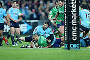 Penalty try. Patrick Osborne goes close to scoring a try but is hit high by Jacques Potgieter who gets a yellow card. NSW Waratahs v Highlanders. 2015 Super Rugby Semi Final match played at Allianz Stadium, Sydney on Saturday 27 June 2015. Photo: Clay Cross / photosport.nz