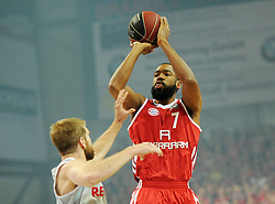 06.06.2013, Stechert Arena, Bamberg, GER, 1. BBL, 5. Playoff Halbfinale, Brose Baskets Bamberg vs FC Bayern Muenchen, im Bild Brandon Thomas (7, FC Bayern Muenchen) gegen John Goldsberry (5, Brose Baskets Bamberg), quer, querformat, horizontal, aktion, landscape // during the 5th playoff semifinal match of germans 1st basketbal Bundesliga between Brose Baskets Bamberg and FC Bayern Munich ath the Stechert Arena, Bamberg, Germany on 2013/06/06. EXPA Pictures &copy; 2013, PhotoCredit: EXPA/ Eibner/ Hans Martin Issler<br /> <br /> ***** ATTENTION - OUT OF GER *****