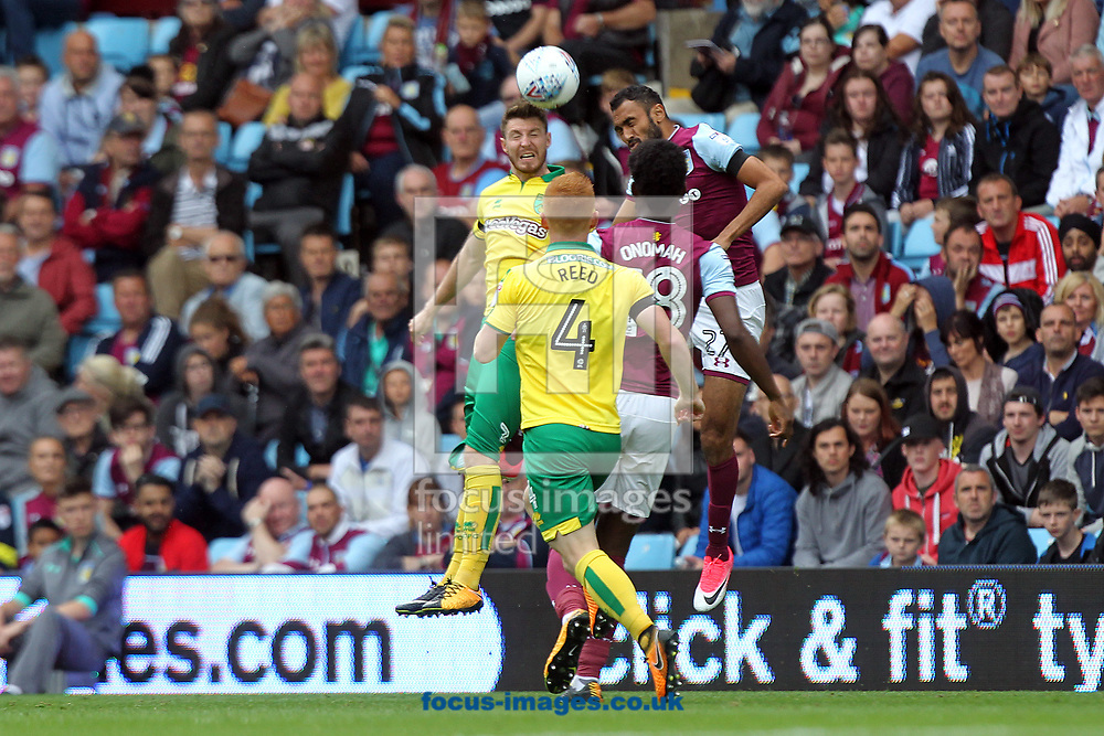 James Husband of Norwich wins a header during the Sky Bet Championship match at Villa Park, Birmingham<br /> Picture by Paul Chesterton/Focus Images Ltd +44 7904 640267<br /> 19/08/2017