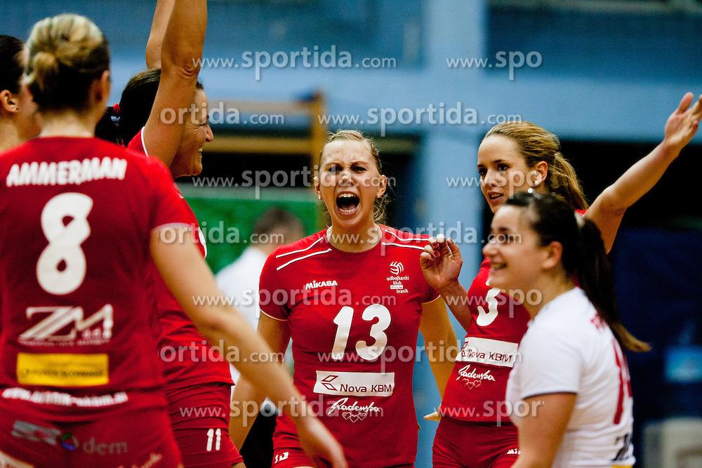 Team Nova KBM Branik Maribor celebrate during volleyball match between Nova KBM Branik Maribor and Calcit Kamnik in final game of Slovenia Volleyball Cup, on Januar 4, 2012 at Sportna Dvorana, Kamnik, Slovenia. Nova KBM Branik Maribor won 3:2. (Photo By Matic Klansek Velej / Sportida)