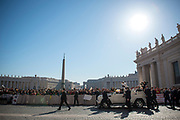 March 29, 2017: Pope Francis salutes people upon arrival in St. Peter's square at the Vatican for his weekly general audience. Antoine Mekary | Aleteia | I.Media