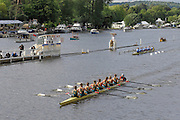 Henley, GREAT BRITAIN, 2012  Remenham Challenge Cup, W8+, Munchener Ruderclub von 1880 EV and Hurther Rudergesellschaft, GER (Bucks)  and National Rowing Centre of Excellence, NRCE, AUS (Berks) Friday  18:37:34  29/06/2012    [Mandatory Credit, Intersport Images]. ...Rowing Courses, Henley Reach, Henley, ENGLAND . HRR