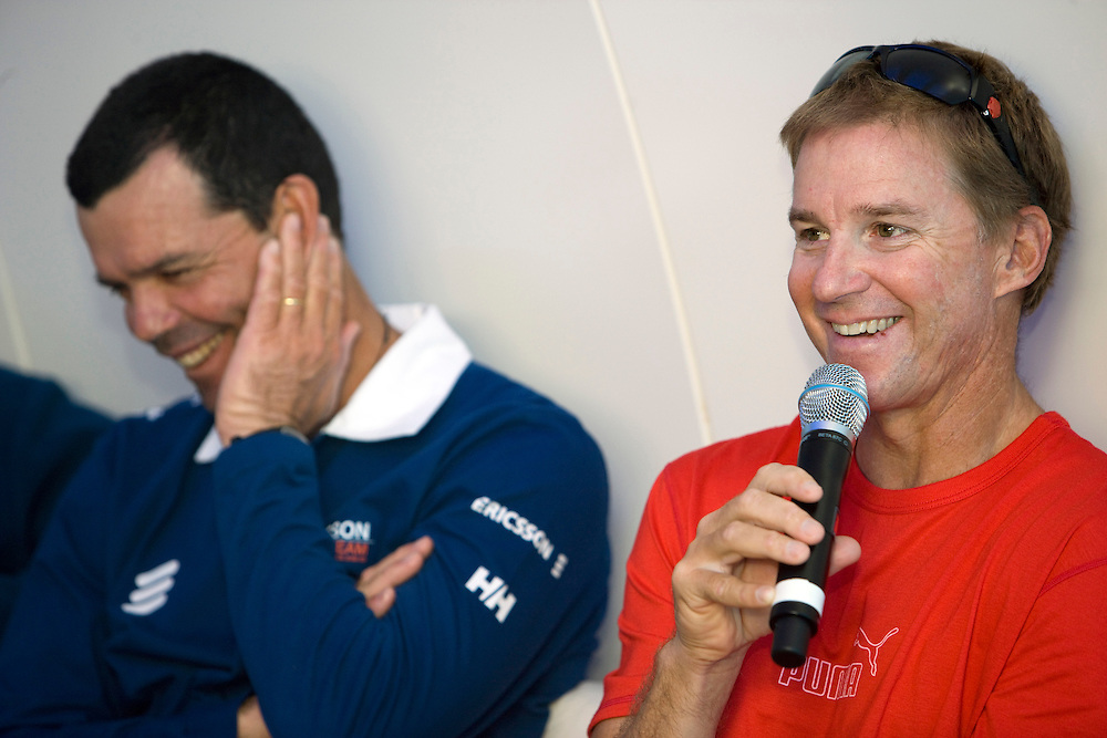03NOV08. PUMA Ocean Racing skipper Ken Read, and skipper of Ericsson 4, Torben Grael, share a joke about their continuous battle for first place deuring leg 1 from Alicante to Cape Town.