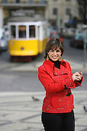 Fado singer Katia Guerreiro is one of the young singers generation  that are bringing a new strenght to this traditional kind of portuguese music. Here Katia is on a Lisbon street with a typical tram on the background.