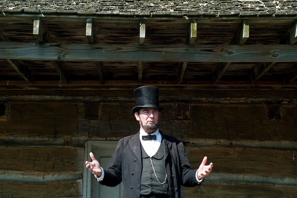 Lathan Goumas | The Bay City Times..Portraying President Abraham Lincoln, Fred Priebe recites the Gettysburg Address during the River of Time at Veterans Park in Bay City, MI., on Saturday September 24, 2011.
