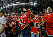 It's raining at the dome after some OT heroics by the Calgary Flames against the Anaheim Ducks in round 2 game 3 of the Stanley Cup Playoffs at Scotiabank Saddledome on May 5, 2015 in Calgary, Alberta, Canada. (Photo by Jenn Pierce/NHLI via Getty Images)