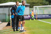 Forest Green Rovers manager, Mark Cooper, and Forest Green Rovers assistant manager, Scott Lindsey during the Vanarama National League match between Forest Green Rovers and Bromley FC at the New Lawn, Forest Green, United Kingdom on 17 September 2016. Photo by Shane Healey.