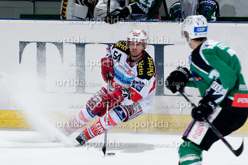 Andrew Schneider (EC KAC, #54) during ice-hockey match between HDD Tilia Olimpija and EC KAC in 32nd Round of EBEL league, on December 30, 2010 at Hala Tivoli, Ljubljana, Slovenia. (Photo By Matic Klansek Velej / Sportida.com)