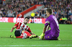 Jay Rodriguez of Southampton is beaten to the ball by Johan Dahlin of FC Midtjylland - Mandatory byline: Paul Terry/JMP - 07966386802 - 20/08/2015 - FOOTBALL - ST Marys Stadium -Southampton,England - Southampton v FC Midtjylland - EUROPA League Play-Off Round