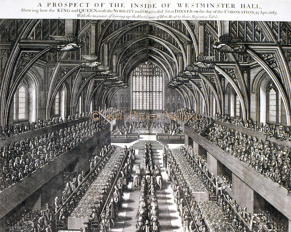 James II of England  VII of Scotland (1633-1701). Reigned 1685-1688.  Coronation of James II and his queen Mary (of Modena), 1685. Scene in the Banqueting Hall, Whitehall, London, celebrating the coronation. Engraving.