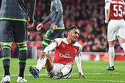 Arsenal Forward Pierre-Emerick Aubameyang (14) rues a missed chance during the Europa League group stage match between Arsenal and Sporting Lisbon at the Emirates Stadium, London, England on 8 November 2018.