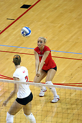 26 October 2007: Kristin Dziubla looks back on a digging Kasey Mollerus. The Drake Bulldogs were defeated 3 - 0  by the Illinois State Redbirds at Redbird Arena on the campus of Illinois State University in Normal Illinois.
