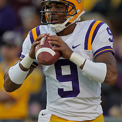 Oct 31, 2009; Baton Rouge, LA, USA; LSU Tigers quarterback Jordan Jefferson (9) in warm ups prior to kickoff against the Tulane Green Wave at Tiger Stadium. LSU defeated Tulane 42-0. Mandatory Credit: Derick E. Hingle