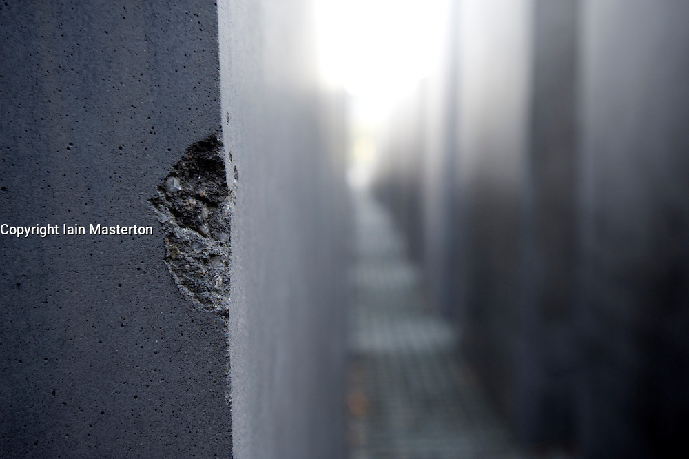Detail of concrete monolith at the Holocaust Memorial in central Berlin Germany