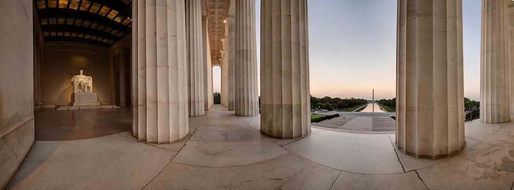 Panorama of Lincoln Memorial looking toward the Washington Monument. <br />