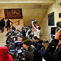 Press pool at the Palais des Nations, filming the arrival of deleagtions for the third, and eventually successful, round of the E3/EU+3 Iran talks in Geneva concerning Iran's nuclear program.  E3/EU +3 refers to UK, France and Germany plus U.S., Russia and China.