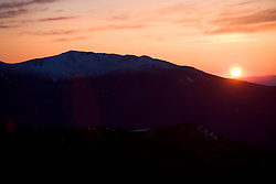 Sunset behind Mt. Lafayette as seen from Mt. Bond in the Pemigewasset Widlerness Area.  New Hampshire's White Mountains.  Early spring.
