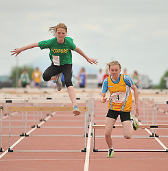 Up and Over......Ailish Armstrong Foxford and Emma Denning Ballinrobe pictured competiting in the girls Under 14 80m Hurdles at the Mayo Commmunity Games finals in Claremorris.<br /> Pic Conor McKeown