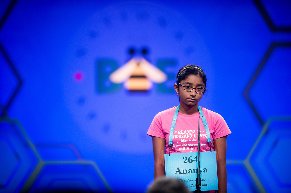 Ananya Vinay, 12, from Fresno, Calif., participates in the finals of the 2017 Scripps National Spelling Bee on Thursday, June 1, 2017 at the Gaylord National Resort and Convention Center at National Harbor in Oxon Hill, Md.      Photo by Pete Marovich/UPI
