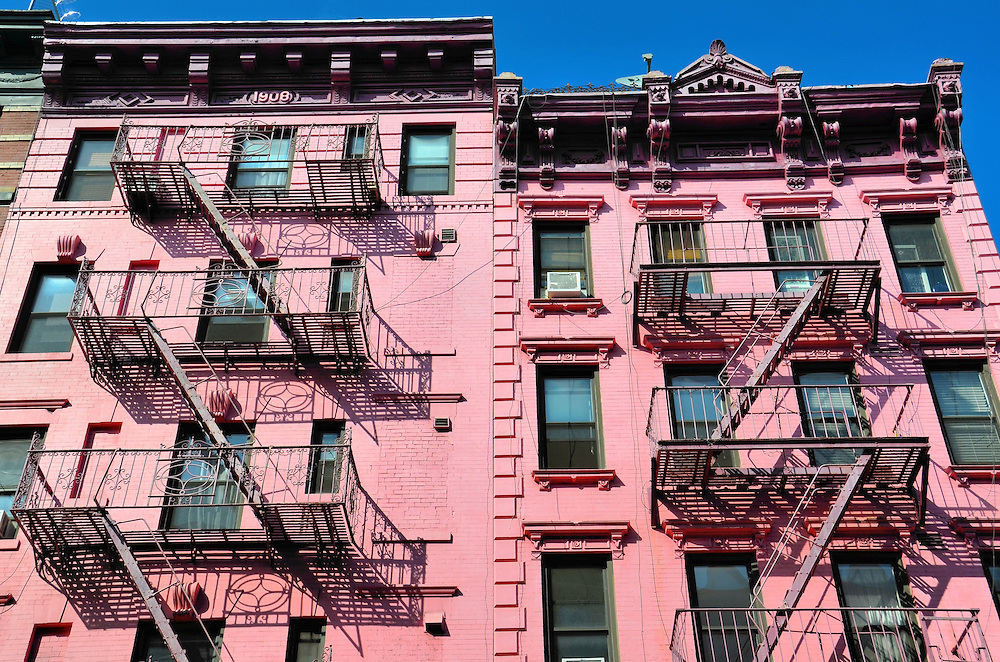Pink Apartment Building in SoHo in New York City, New York<br />
