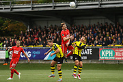 Craig Clay of Leyton Orient (8) rises above two markers t head the ball during the Vanarama National League match between Harrogate Town and Leyton Orient at Wetherby Road, Harrogate, United Kingdom on 22 September 2018.