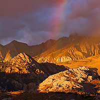 Enjoyed an amazing sunrise in an area called the Buttermilk Country on the western edge of the Owens Valley near Bishop, California. At first there was the spectacular alpine glow. Then it started to rain off into the distance creating a rainbow over the Buttermilk Country. Then within minutes it was over.