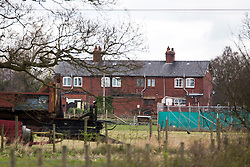 © Licensed to London News Pictures. 29/03/2016. Barlow UK. Picture shows the Railway Cottages in Barlow near Selby where a quantity of suspected explosive material was found in a outbuilding this morning. Photo credit: Andrew McCaren/LNP