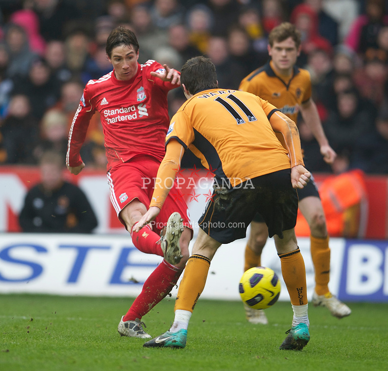 WOLVERHAMPTON, ENGLAND - Saturday, January 22, 2011: Liverpool's Fernando Torres in action against Wolverhampton Wanderers during the Premiership match at Molineux. (Photo by David Rawcliffe/Propaganda)