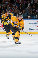 KELOWNA, CANADA - MAY 13: Ivan Provorov #9 of Brandon Wheat Kings skates against the Kelowna Rockets on May 13, 2015 during game 4 of the WHL final series at Prospera Place in Kelowna, British Columbia, Canada.  (Photo by Marissa Baecker/Shoot the Breeze)  *** Local Caption *** Ivan Provorov;