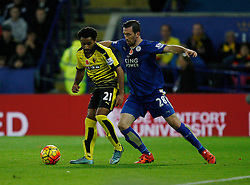 Ikechi Anya of Watford (L) and Christian Fuchs of Leicester City in action  - Mandatory byline: Jack Phillips/JMP - 07966386802 - 7/11/2015 - SPORT - FOOTBALL - Leicester - King Power Stadium - Leicester City v Watford - Barclays Premier League