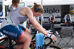 Ann-Sophie Duyck (BEL) spins her legs ahead of Postnord Vårgårda West Sweden Team Time Trial 2018, a 42.5 km team time trial in Vårgårda, Sweden on August 11, 2018. Photo by Sean Robinson/velofocus.com