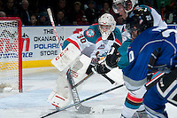 KELOWNA, CANADA -FEBRUARY 8: Jordon Cooke #30 of the Kelowna Rockets defends the net against the Victoria Royals on February 8, 2014 at Prospera Place in Kelowna, British Columbia, Canada.   (Photo by Marissa Baecker/Getty Images)  *** Local Caption *** Jordon Cooke;