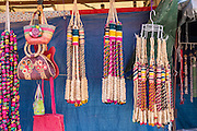 Religious icons and whips for sale at small stalls for Mexican pilgrims and penitents at the Sanctuary of Atotonilco an important Catholic shrine in Atotonilco, Mexico.