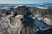 Volcanic landscape of Santiago island, part of the Galapagos islands of Ecuador.